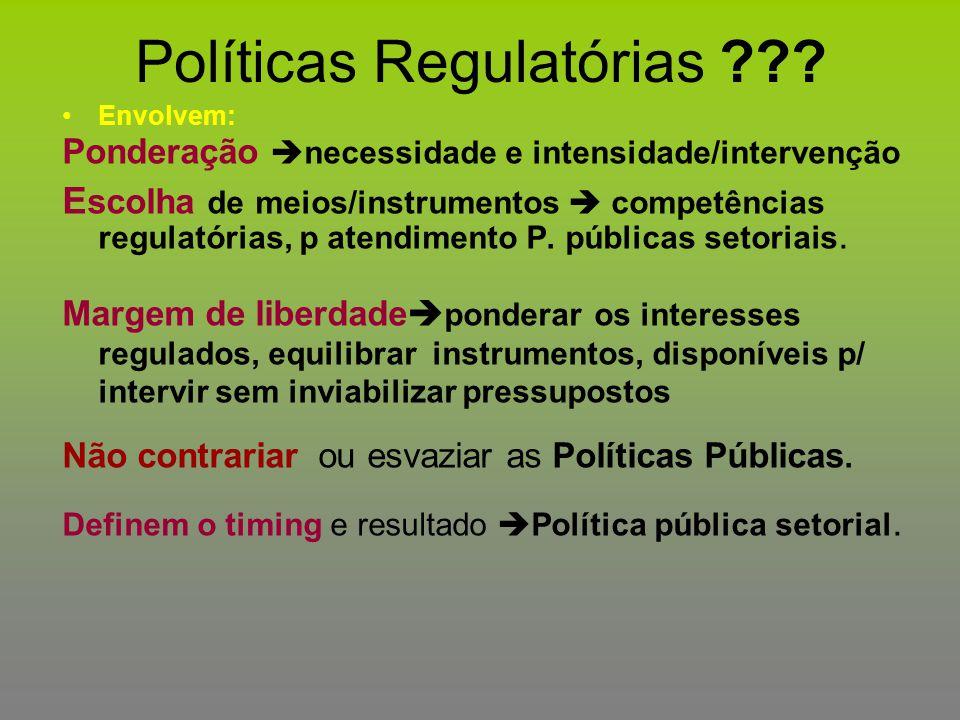 Políticas Regulatórias ??? Envolvem: Ponderação  necessidade e intensidade/intervenção E scolha de meios/instrumentos  competências regulatórias, p