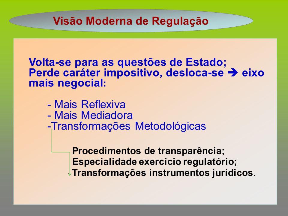 Visão Moderna de Regulação Volta-se para as questões de Estado; Perde caráter impositivo, desloca-se  eixo mais negocial : - Mais Reflexiva - Mais Me