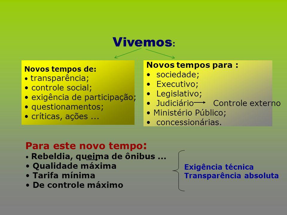 Vivemos : Novos tempos de: transparência; controle social; exigência de participação; questionamentos; críticas, ações... Novos tempos para : sociedad