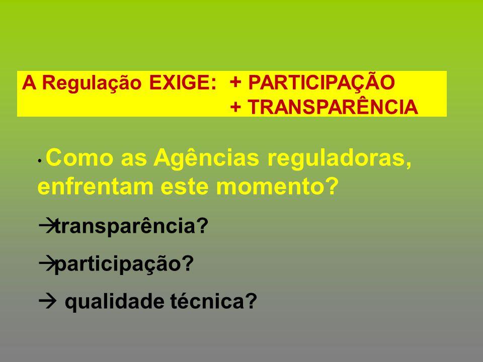 A Regulação EXIGE : + PARTICIPAÇÃO + TRANSPARÊNCIA Como as Agências reguladoras, enfrentam este momento?  transparência?  participação?  qualidade