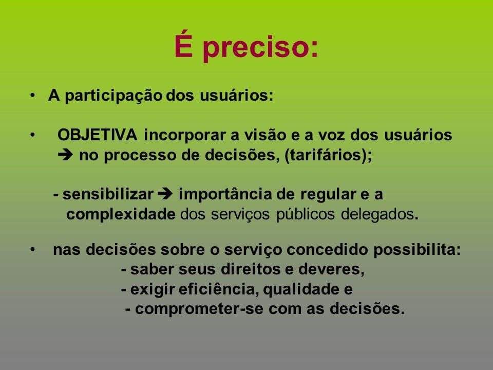 É preciso: A participação dos usuários: OBJETIVA incorporar a visão e a voz dos usuários  no processo de decisões, (tarifários); - sensibilizar  imp