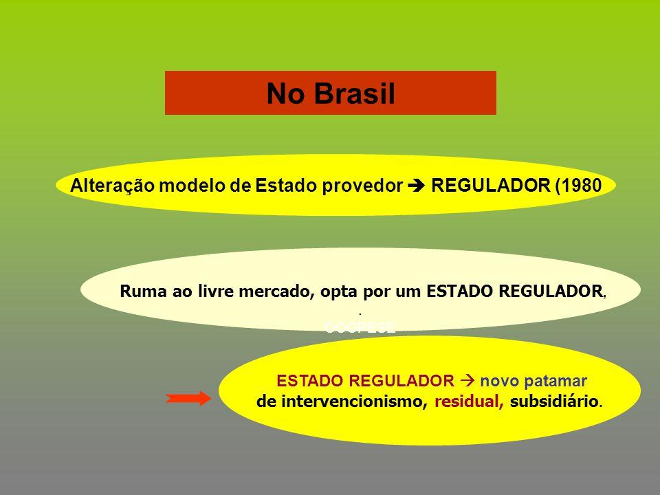 No Brasil Alteração modelo de Estado provedor  REGULADOR (1980 Ruma ao livre mercado, opta por um ESTADO REGULADOR,. OOOPESE ESTADO REGULADOR  novo