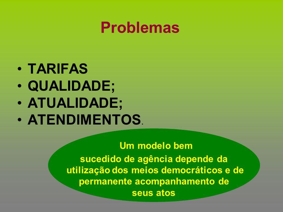 Problemas TARIFAS QUALIDADE; ATUALIDADE; ATENDIMENTOS. Um modelo bem sucedido de agência depende da utilização dos meios democráticos e de permanente