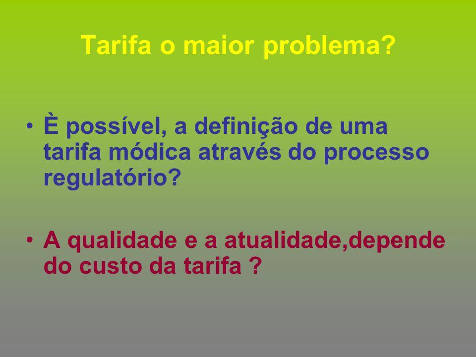 È possível, a definição de uma tarifa módica através do processo regulatório? A qualidade e a atualidade,depende do custo da tarifa ? Tarifa o maior p