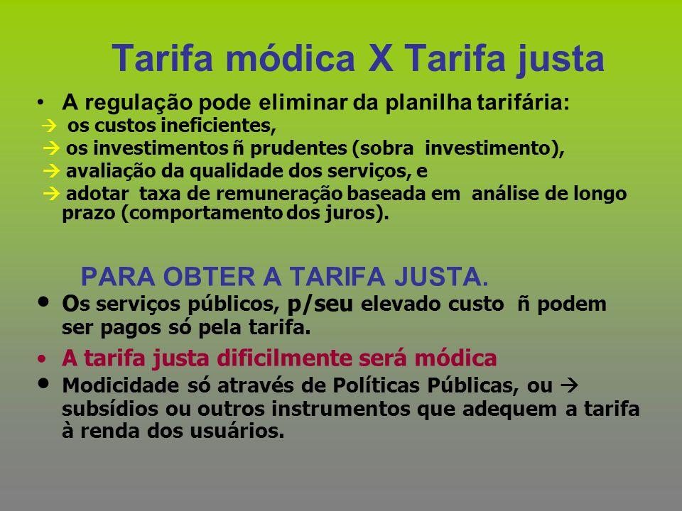Tarifa módica X Tarifa justa A regulação pode eliminar da planilha tarifária:  os custos ineficientes,  os investimentos ñ prudentes (sobra investim