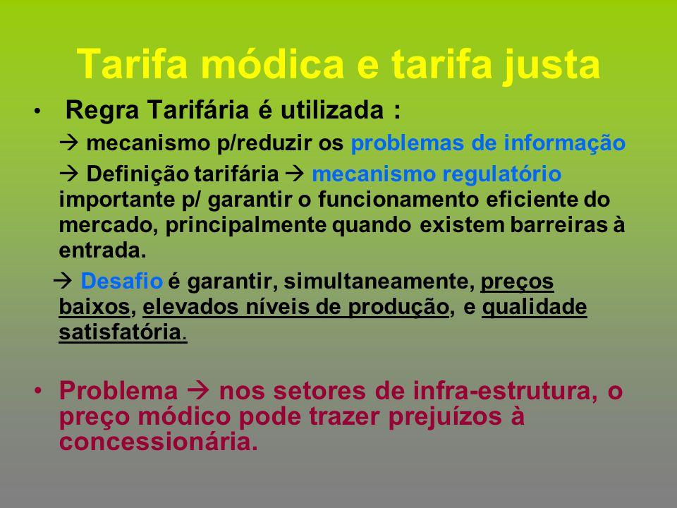Tarifa módica e tarifa justa Regra Tarifária é utilizada :  mecanismo p/reduzir os problemas de informação  Definição tarifária  mecanismo regulató