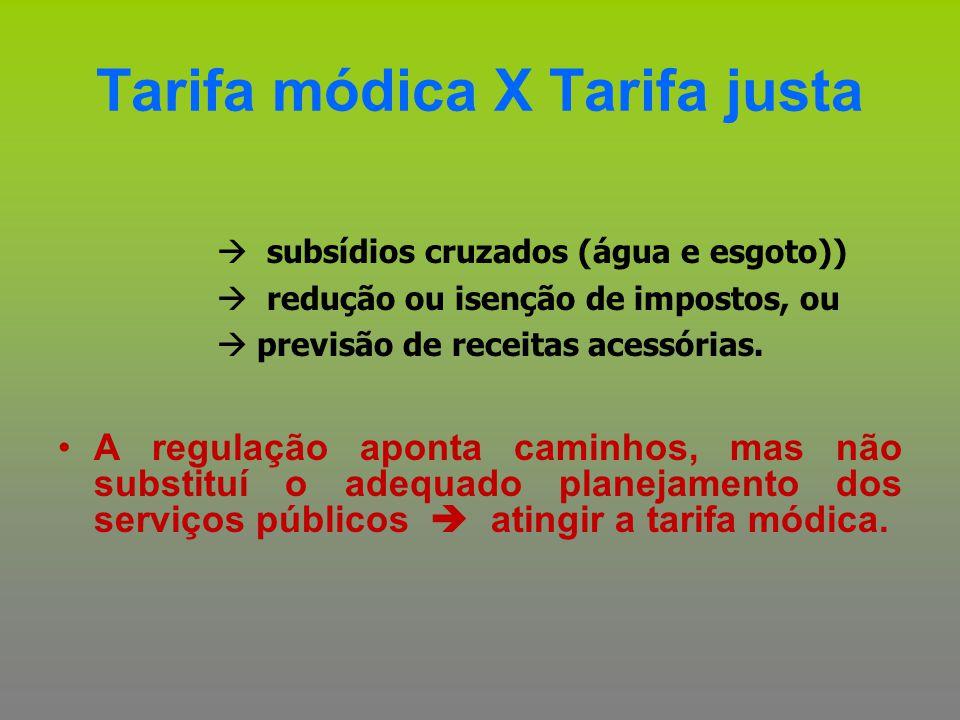 Tarifa módica X Tarifa justa  subsídios cruzados (água e esgoto))  redução ou isenção de impostos, ou  previsão de receitas acessórias. A regulação