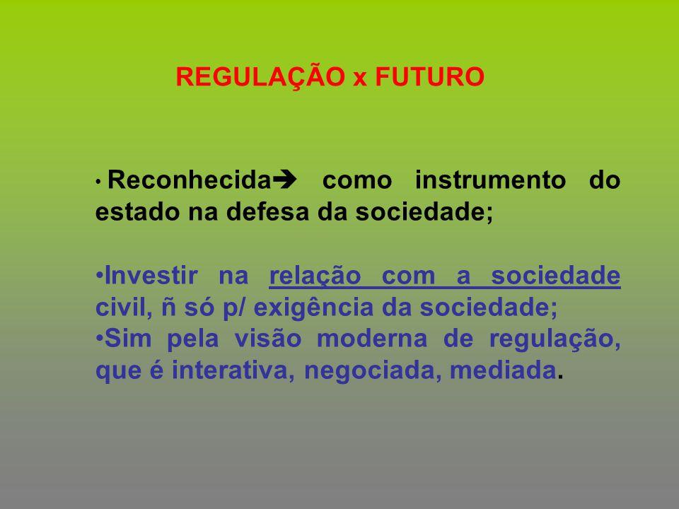 REGULAÇÃO x FUTURO Reconhecida  como instrumento do estado na defesa da sociedade; Investir na relação com a sociedade civil, ñ só p/ exigência da so