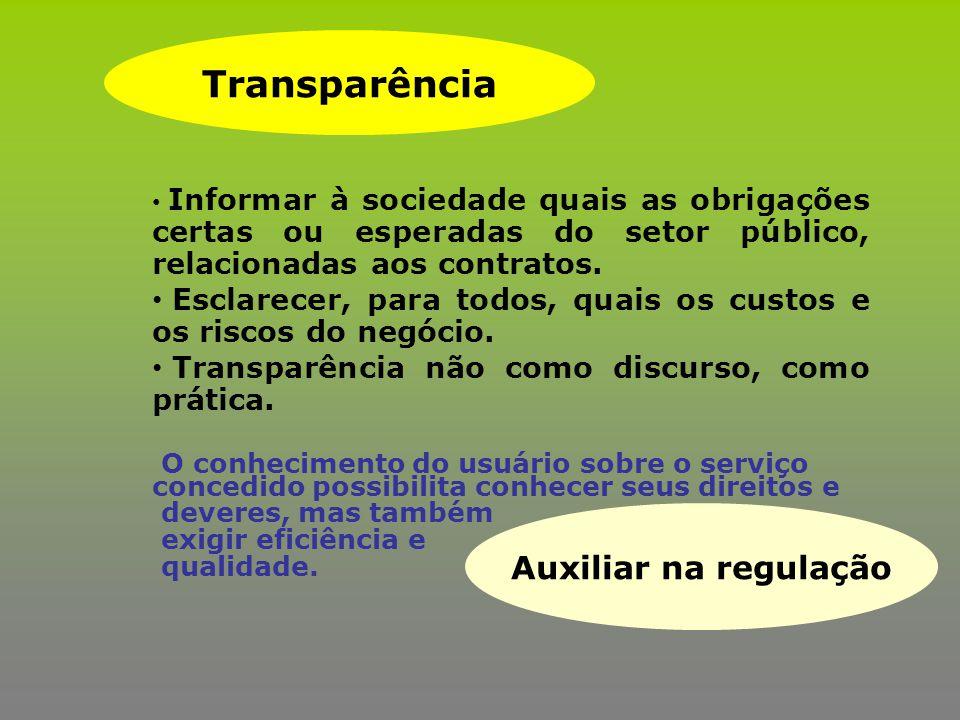 Informar à sociedade quais as obrigações certas ou esperadas do setor público, relacionadas aos contratos. Esclarecer, para todos, quais os custos e o
