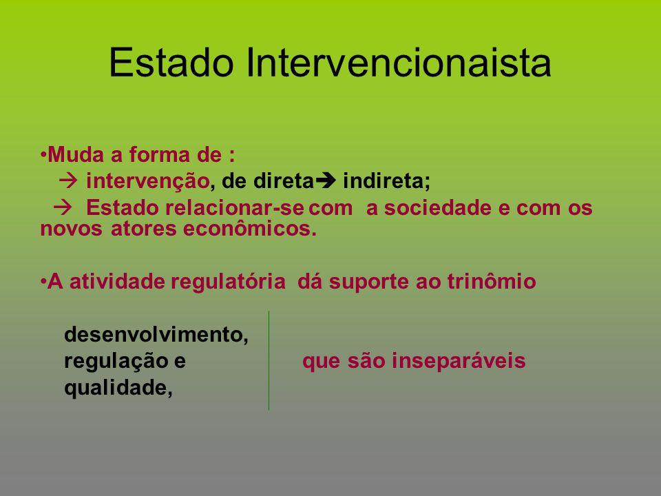 Estado Intervencionaista Muda a forma de :  intervenção, de direta  indireta;  Estado relacionar-se com a sociedade e com os novos atores econômico