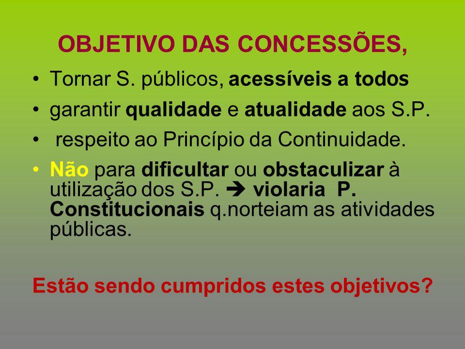 OBJETIVO DAS CONCESSÕES, Tornar S. públicos, acessíveis a tod OS garantir qualidade e atualidade aos S.P. respeito ao Princípio da Continuidade. Não p
