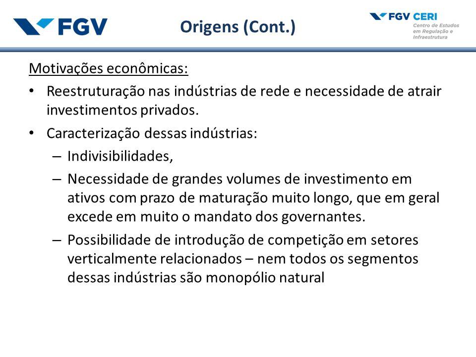 Origens (Cont.) Motivações econômicas: Reestruturação nas indústrias de rede e necessidade de atrair investimentos privados.
