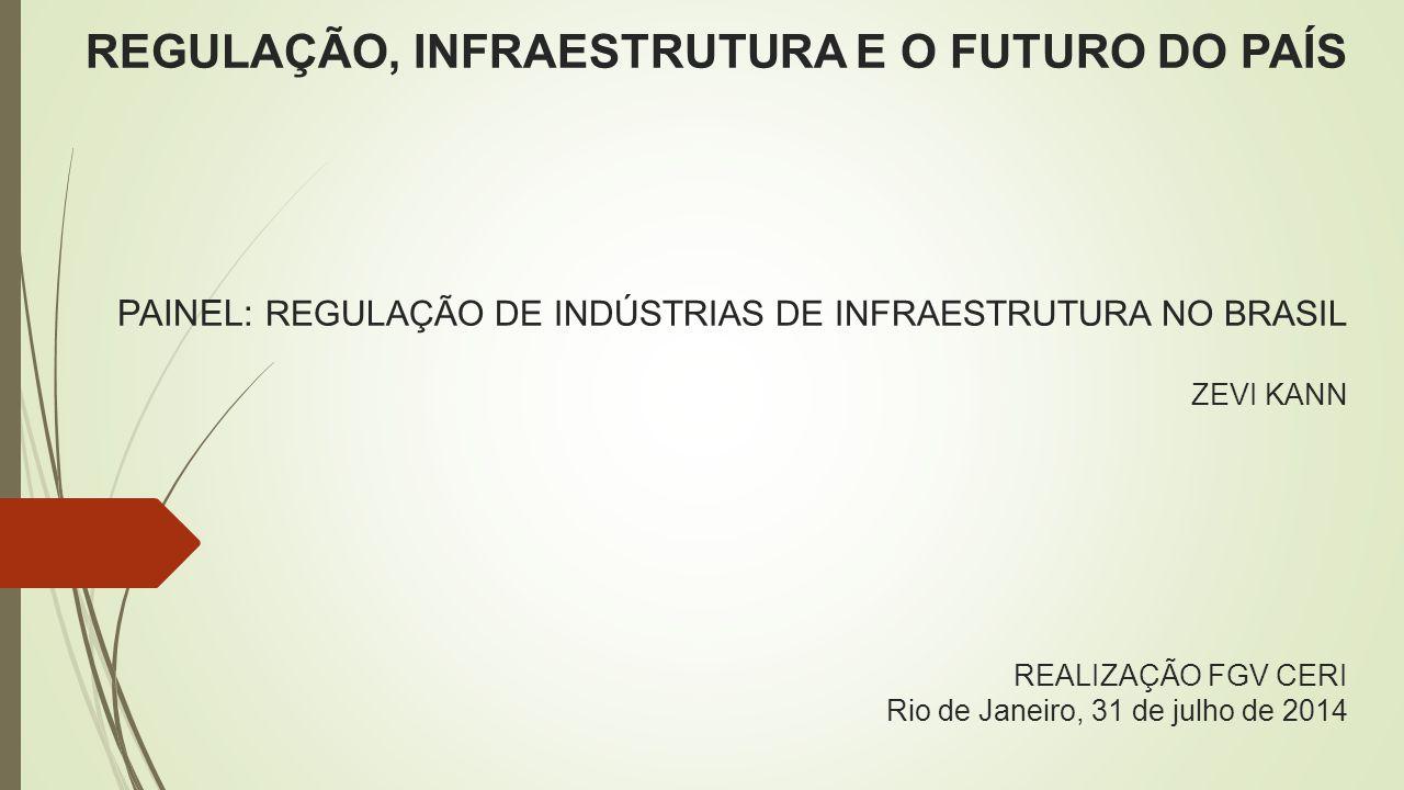 REGULAÇÃO, INFRAESTRUTURA E O FUTURO DO PAÍS PAINEL: REGULAÇÃO DE INDÚSTRIAS DE INFRAESTRUTURA NO BRASIL ZEVI KANN REALIZAÇÃO FGV CERI Rio de Janeiro, 31 de julho de 2014