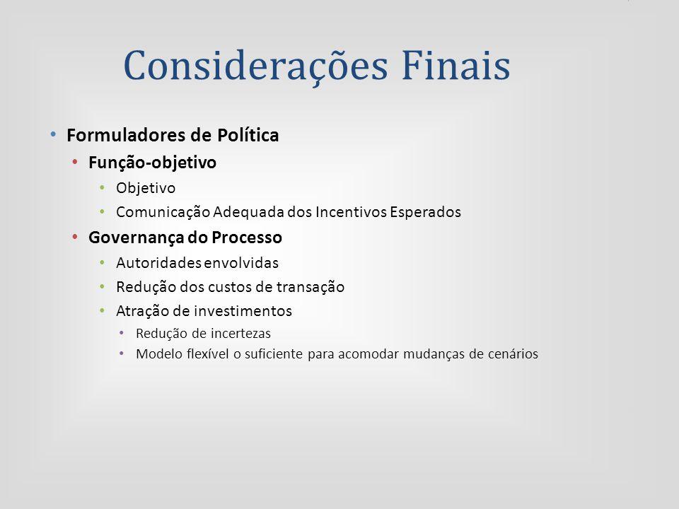 Considerações Finais Formuladores de Política Função-objetivo Objetivo Comunicação Adequada dos Incentivos Esperados Governança do Processo Autoridades envolvidas Redução dos custos de transação Atração de investimentos Redução de incertezas Modelo flexível o suficiente para acomodar mudanças de cenários