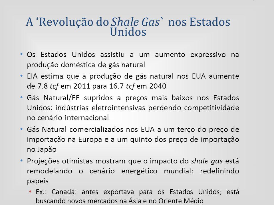A 'Revolução do Shale Gas` nos Estados Unidos Os Estados Unidos assistiu a um aumento expressivo na produção doméstica de gás natural EIA estima que a produção de gás natural nos EUA aumente de 7.8 tcf em 2011 para 16.7 tcf em 2040 Gás Natural/EE supridos a preços mais baixos nos Estados Unidos: indústrias eletrointensivas perdendo competitividade no cenário internacional Gás Natural comercializados nos EUA a um terço do preço de importação na Europa e a um quinto dos preço de importação no Japão Projeções otimistas mostram que o impacto do shale gas está remodelando o cenário energético mundial: redefinindo papeis Ex.: Canadá: antes exportava para os Estados Unidos; está buscando novos mercados na Ásia e no Oriente Médio