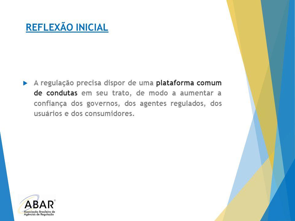 REFLEXÃO INICIAL  A regulação precisa dispor de uma plataforma comum de condutas em seu trato, de modo a aumentar a confiança dos governos, dos agent