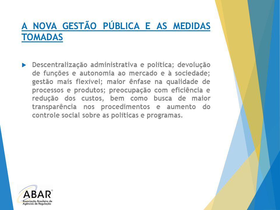 A NOVA GESTÃO PÚBLICA E AS MEDIDAS TOMADAS  Descentralização administrativa e política; devolução de funções e autonomia ao mercado e à sociedade; ge
