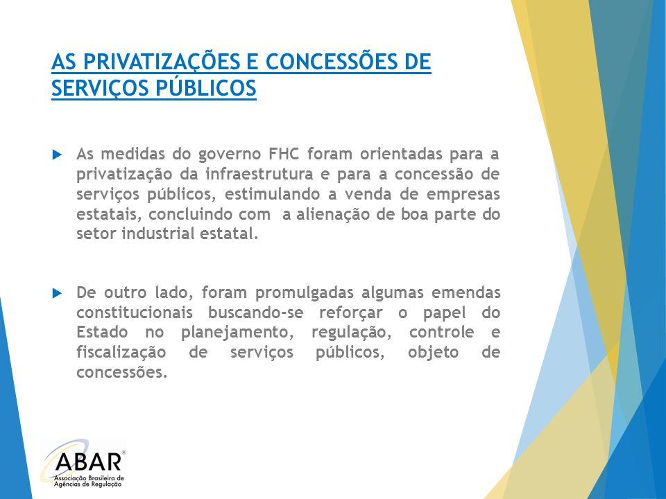 AS PRIVATIZAÇÕES E CONCESSÕES DE SERVIÇOS PÚBLICOS  As medidas do governo FHC foram orientadas para a privatização da infraestrutura e para a concess