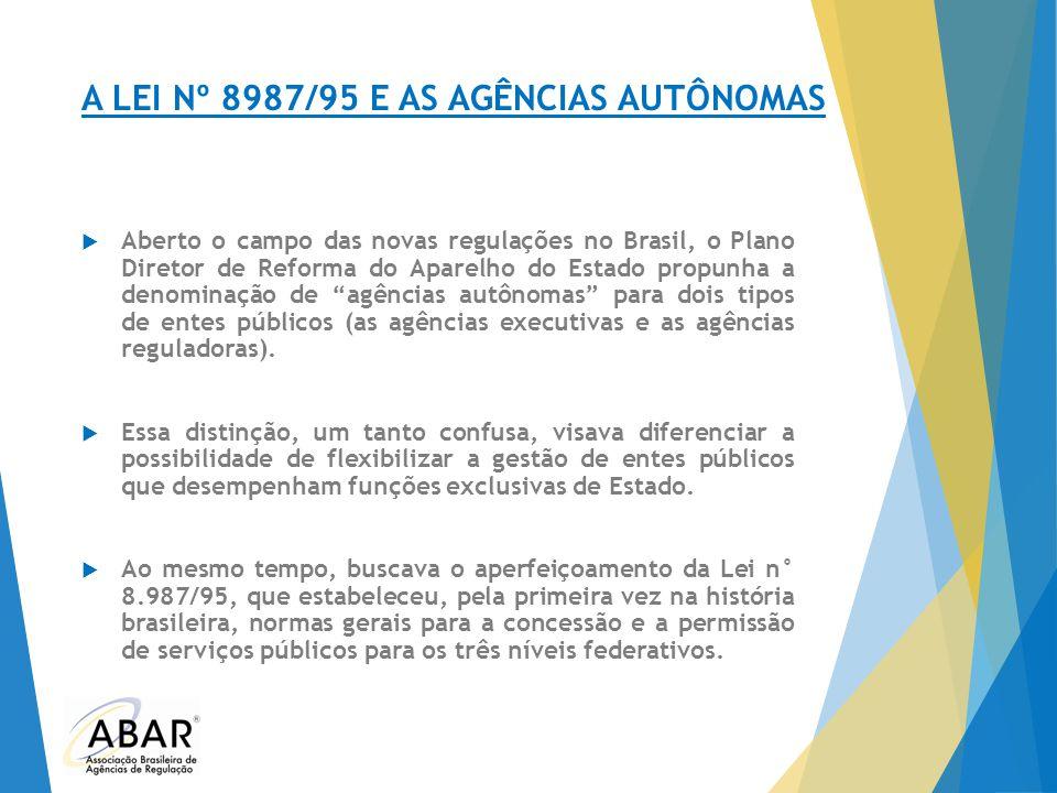 A LEI Nº 8987/95 E AS AGÊNCIAS AUTÔNOMAS  Aberto o campo das novas regulações no Brasil, o Plano Diretor de Reforma do Aparelho do Estado propunha a