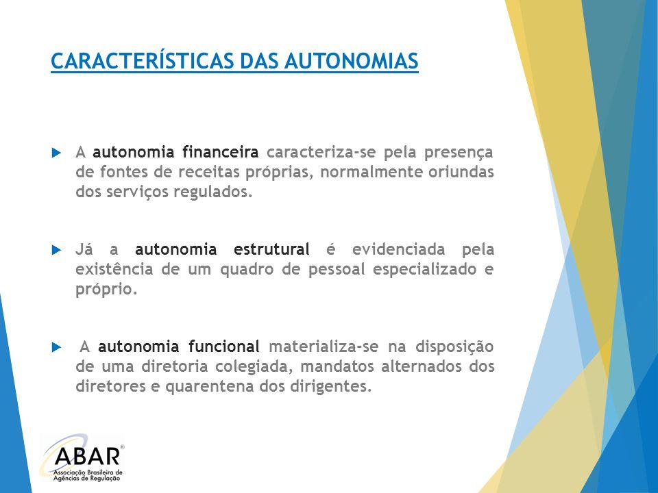 CARACTERÍSTICAS DAS AUTONOMIAS  A autonomia financeira caracteriza-se pela presença de fontes de receitas próprias, normalmente oriundas dos serviços