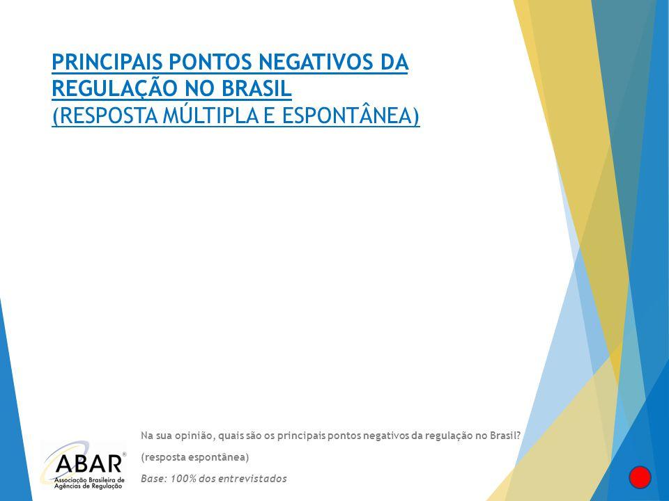 PRINCIPAIS PONTOS NEGATIVOS DA REGULAÇÃO NO BRASIL (RESPOSTA MÚLTIPLA E ESPONTÂNEA) Na sua opinião, quais são os principais pontos negativos da regula