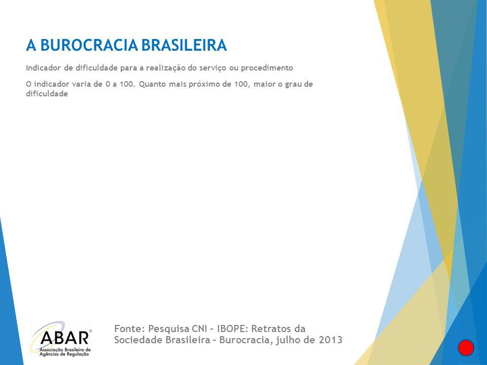 A BUROCRACIA BRASILEIRA Indicador de dificuldade para a realização do serviço ou procedimento O indicador varia de 0 a 100. Quanto mais próximo de 100