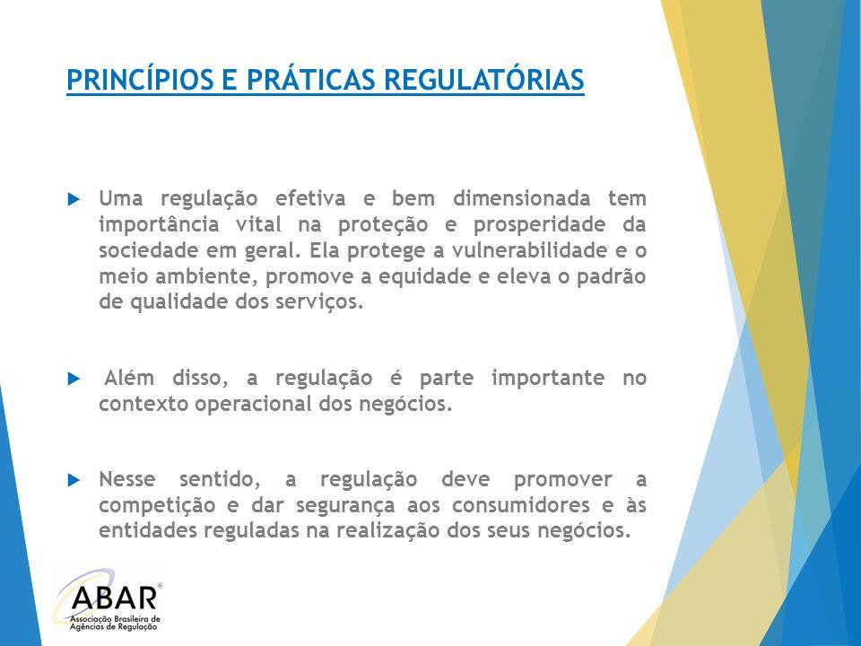 PRINCÍPIOS E PRÁTICAS REGULATÓRIAS  Uma regulação efetiva e bem dimensionada tem importância vital na proteção e prosperidade da sociedade em geral.