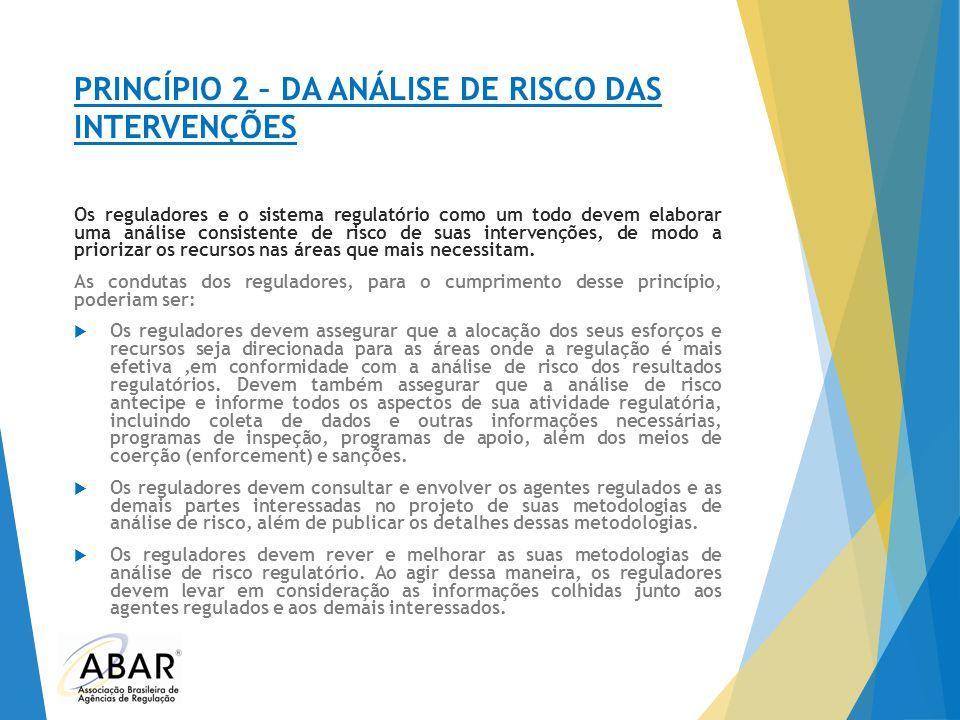 PRINCÍPIO 2 – DA ANÁLISE DE RISCO DAS INTERVENÇÕES Os reguladores e o sistema regulatório como um todo devem elaborar uma análise consistente de risco