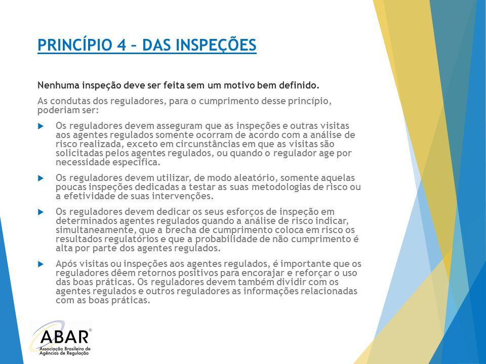 PRINCÍPIO 4 – DAS INSPEÇÕES Nenhuma inspeção deve ser feita sem um motivo bem definido. As condutas dos reguladores, para o cumprimento desse princípi
