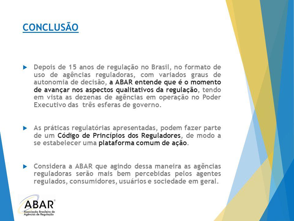 CONCLUSÃO  Depois de 15 anos de regulação no Brasil, no formato de uso de agências reguladoras, com variados graus de autonomia de decisão, a ABAR en