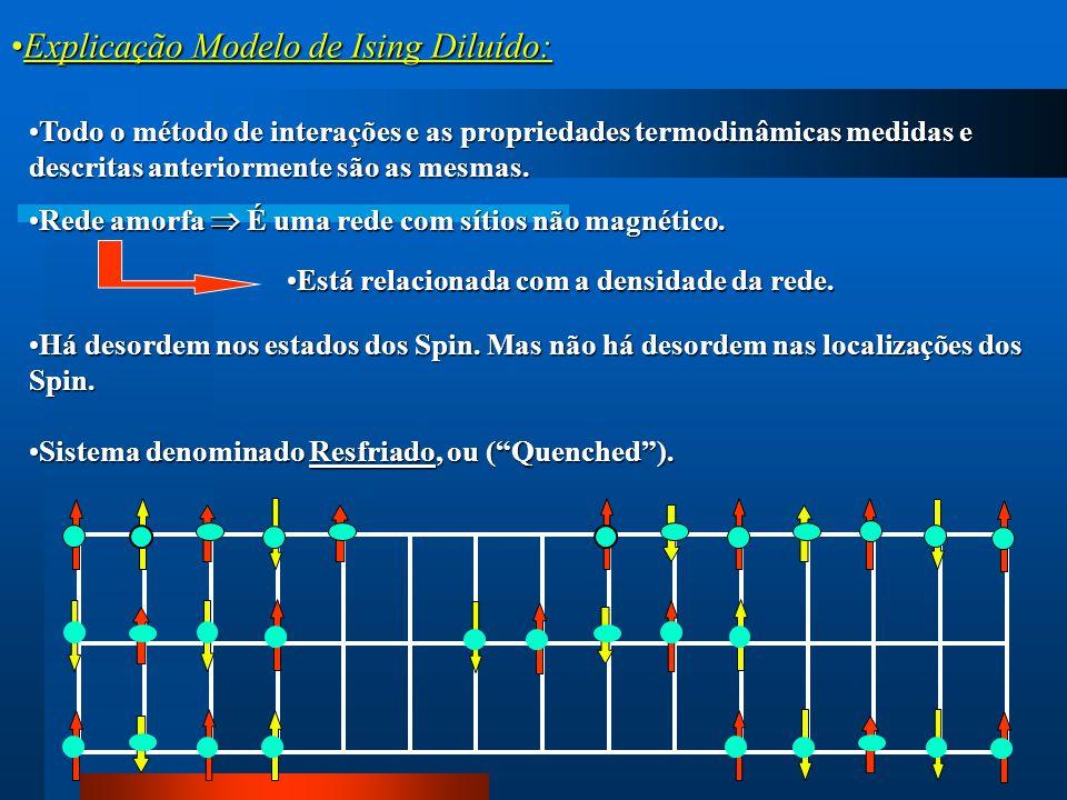 Explicação Modelo de Ising Diluído:Explicação Modelo de Ising Diluído: Todo o método de interações e as propriedades termodinâmicas medidas e descrita