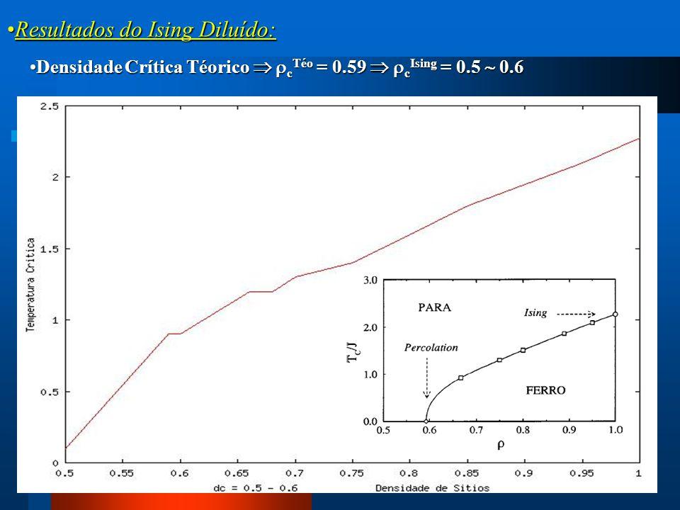Resultados do Ising Diluído:Resultados do Ising Diluído: Densidade Crítica Téorico   c Téo = 0.59   c Ising = 0.5  0.6Densidade Crítica Téorico 