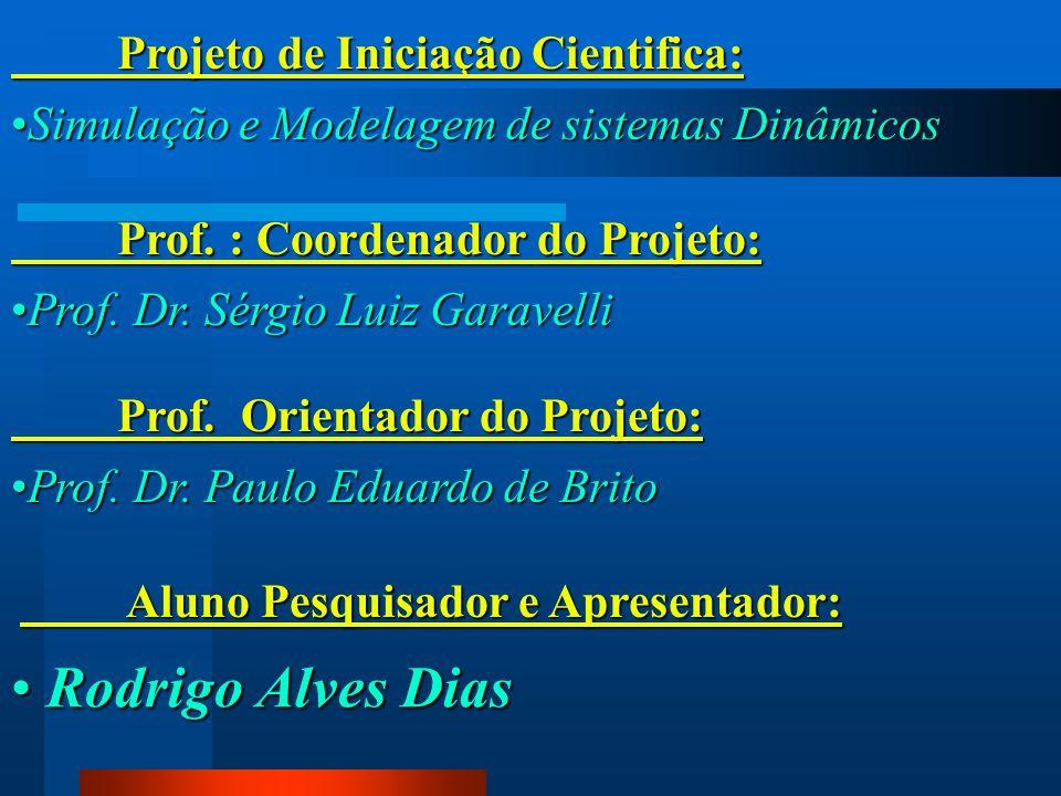 Projeto de Iniciação Cientifica: Simulação e Modelagem de sistemas DinâmicosSimulação e Modelagem de sistemas Dinâmicos Prof. : Coordenador do Projeto