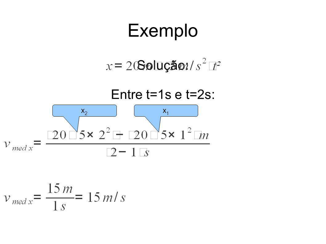 Exemplo Solução: Entre t=1s e t=2s: x2x2 x1x1