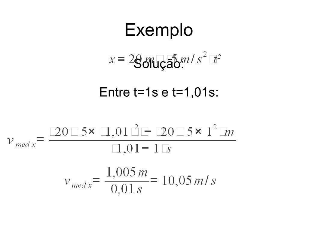 Exemplo Solução: Entre t=1s e t=1,01s: