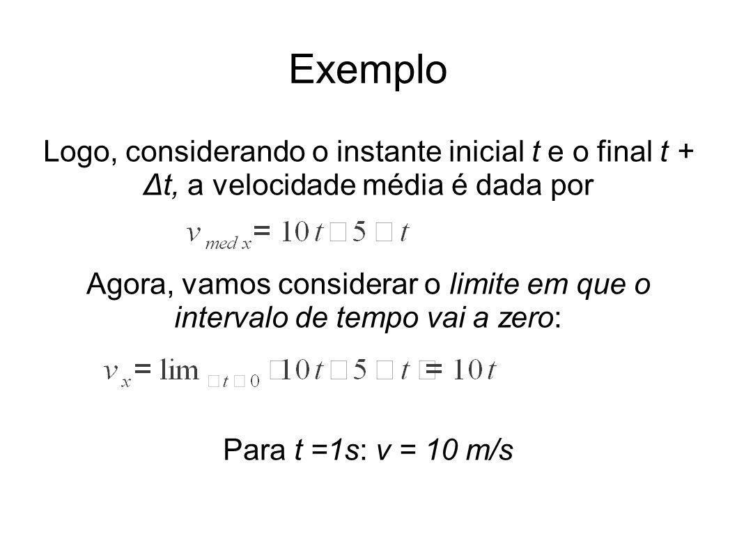 Exemplo Logo, considerando o instante inicial t e o final t + Δt, a velocidade média é dada por Agora, vamos considerar o limite em que o intervalo de tempo vai a zero: Para t =1s: v = 10 m/s