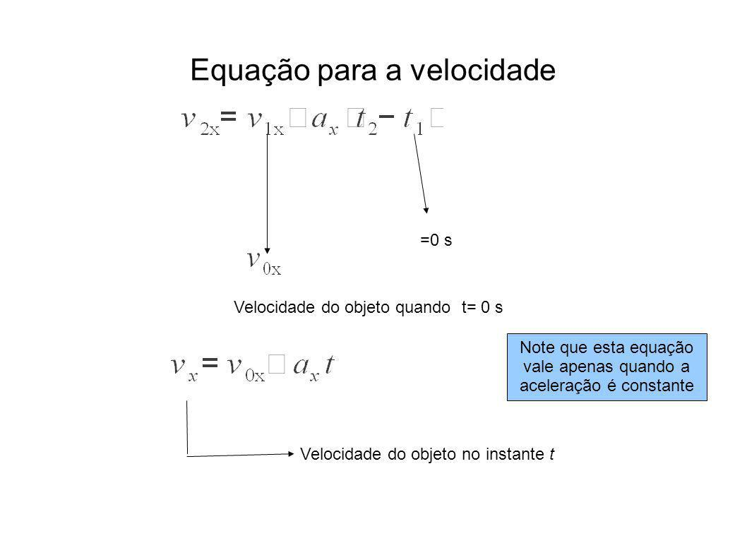 =0 s Velocidade do objeto quando t= 0 s Velocidade do objeto no instante t Note que esta equação vale apenas quando a aceleração é constante Equação para a velocidade