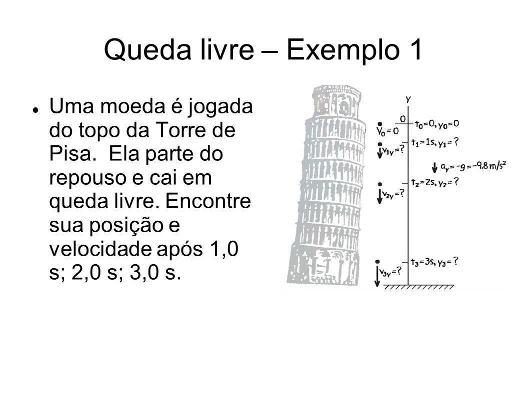 Queda livre – Exemplo 1 Uma moeda é jogada do topo da Torre de Pisa. Ela parte do repouso e cai em queda livre. Encontre sua posição e velocidade após
