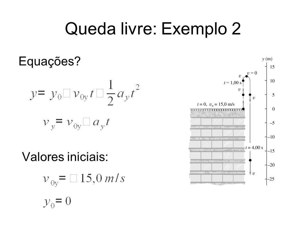 Queda livre: Exemplo 2 Equações? Valores iniciais: