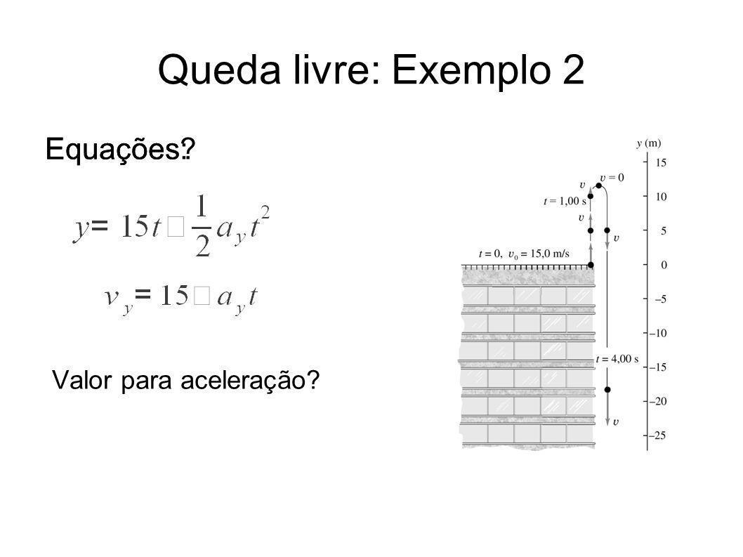 Queda livre: Exemplo 2 Equações? Valor para aceleração? Equações:
