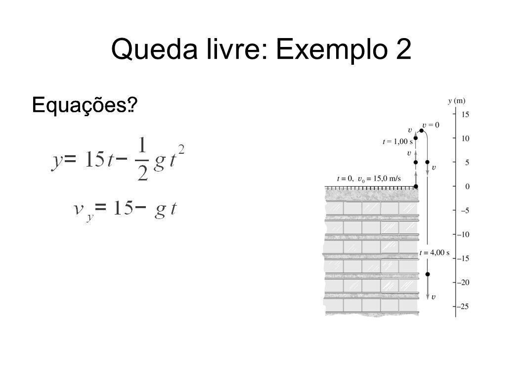 Queda livre: Exemplo 2 Equações? Equações: