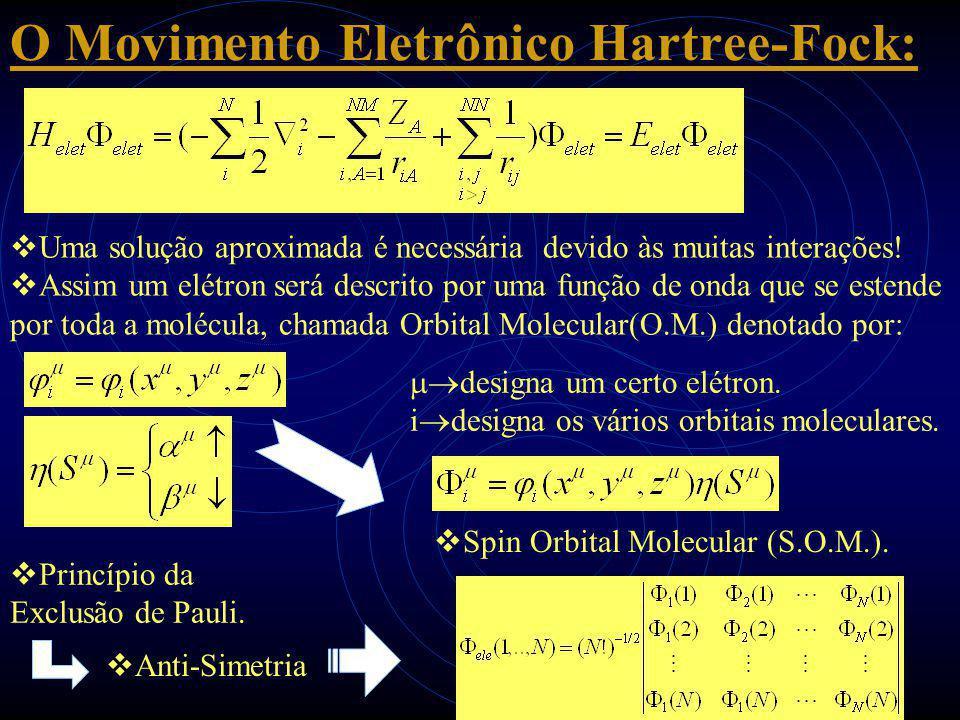 O Movimento Eletrônico Hartree-Fock:  Uma solução aproximada é necessária devido às muitas interações!  Assim um elétron será descrito por uma funçã