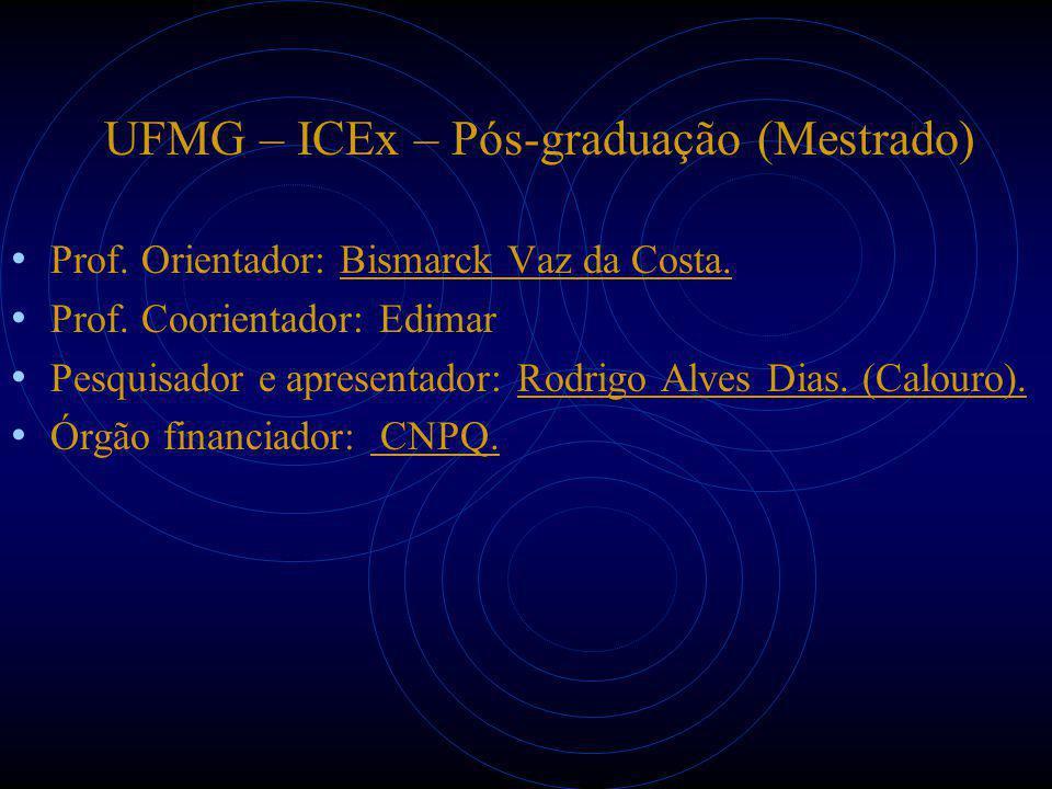 UFMG – ICEx – Pós-graduação (Mestrado) Prof. Orientador: Bismarck Vaz da Costa. Prof. Coorientador: Edimar Pesquisador e apresentador: Rodrigo Alves D