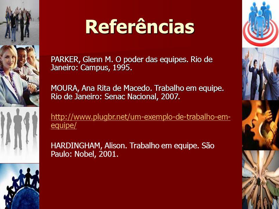 Referências PARKER, Glenn M. O poder das equipes. Rio de Janeiro: Campus, 1995. MOURA, Ana Rita de Macedo. Trabalho em equipe. Rio de Janeiro: Senac N