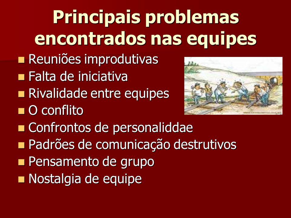 Principais problemas encontrados nas equipes Reuniões improdutivas Reuniões improdutivas Falta de iniciativa Falta de iniciativa Rivalidade entre equi