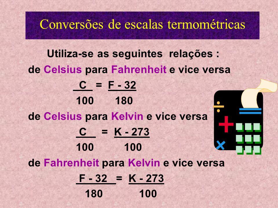 Escala Kelvin 273 K = ponto de solidificação da água 373 K = ponto de ebulição da água 0 K ( zero Kelvin ) = zero absoluto o zero absoluto corresponde