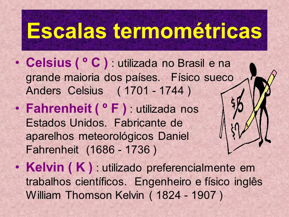 Escalas termométricas Celsius ( º C ) : utilizada no Brasil e na grande maioria dos países.