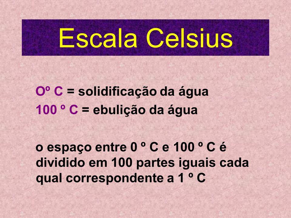 Escala Celsius Oº C = solidificação da água 100 º C = ebulição da água o espaço entre 0 º C e 100 º C é dividido em 100 partes iguais cada qual correspondente a 1 º C