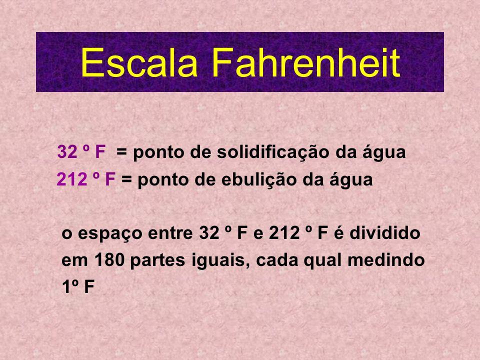 Escala Fahrenheit 32 º F = ponto de solidificação da água 212 º F = ponto de ebulição da água o espaço entre 32 º F e 212 º F é dividido em 180 partes iguais, cada qual medindo 1º F