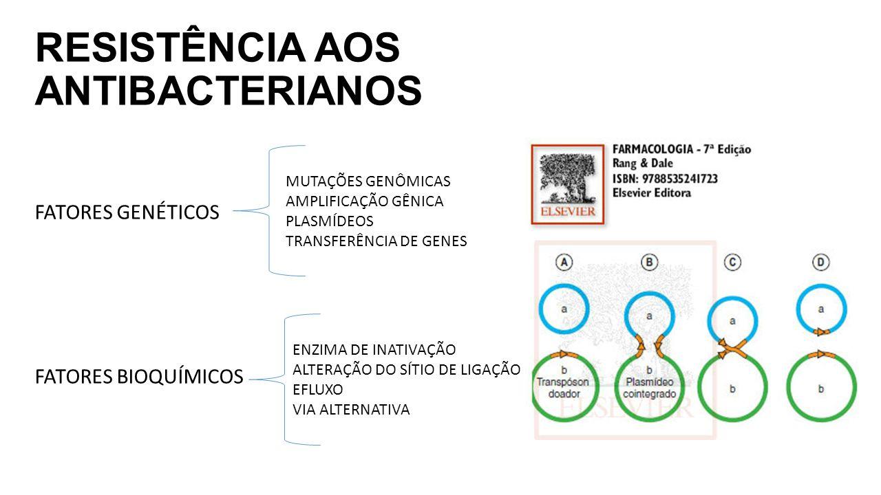RESISTÊNCIA AOS ANTIBACTERIANOS FATORES GENÉTICOS FATORES BIOQUÍMICOS MUTAÇÕES GENÔMICAS AMPLIFICAÇÃO GÊNICA PLASMÍDEOS TRANSFERÊNCIA DE GENES ENZIMA DE INATIVAÇÃO ALTERAÇÃO DO SÍTIO DE LIGAÇÃO EFLUXO VIA ALTERNATIVA